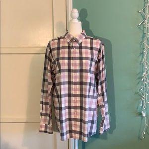 Men's Plaid Shirt - Pink/Grey